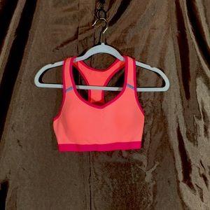 Danskin bright orange and pink sports bra